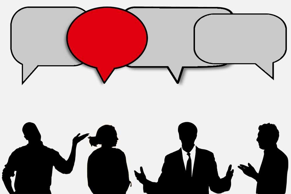 Illustration: vier Leute debattieren